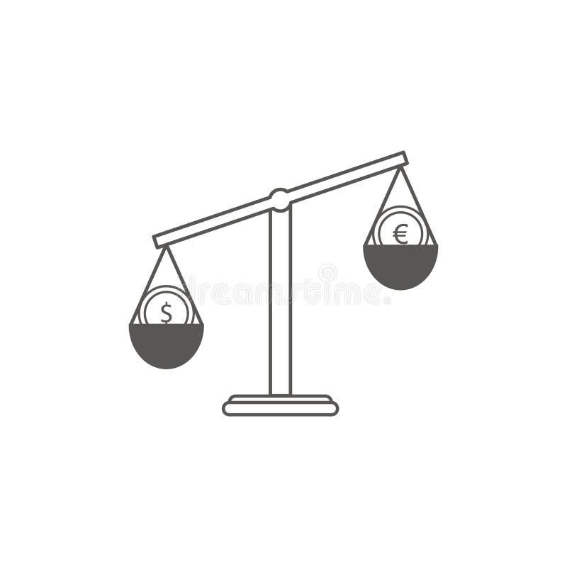 Enkel Businessoch finansvektorFlatsymbol Klassisk våg av två valutor euro och rubel Linje konststilsymbol  stock illustrationer