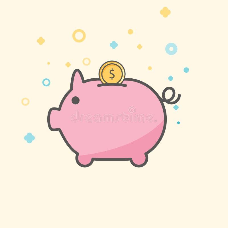 Enkel Businessoch finansvektorFlatsymbol Klassiskt rosa piggy som myntvårdare Plan stilsymbol  vektor illustrationer