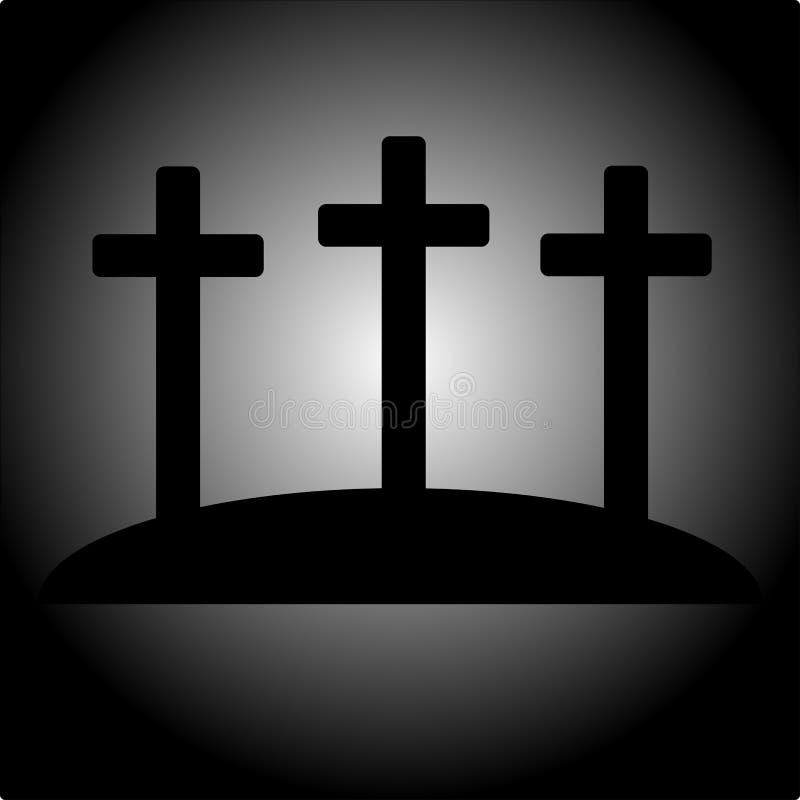 Enkel calvarysymbol med tre kors stock illustrationer