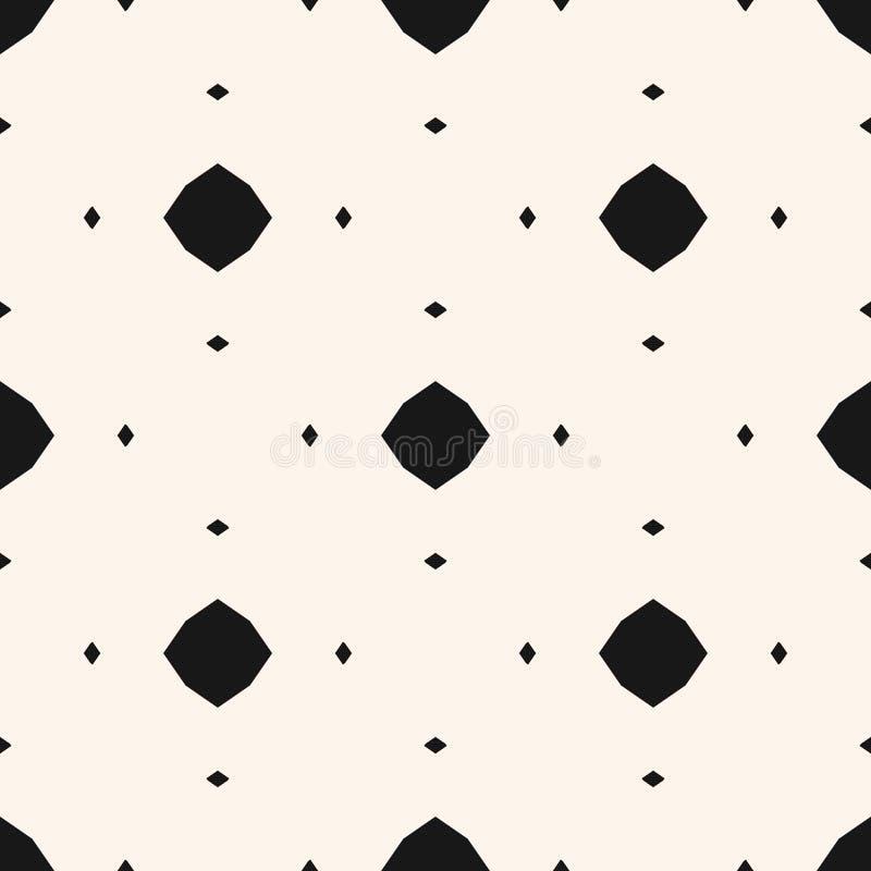 Enkel dekorativ bakgrund Svartvit geometrisk textur med små diamanter, oktogon, romber, prickar stock illustrationer