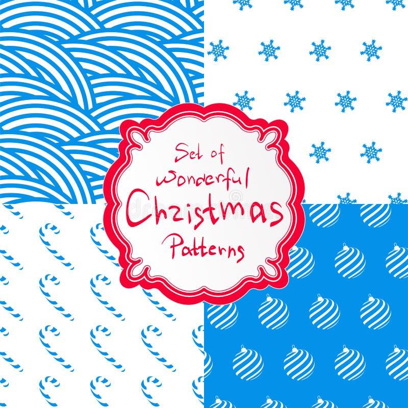 Enkel dekorativ modellvektor fyra för fastställd jul stock illustrationer