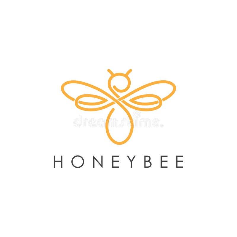 Enkel elegant design för logo för monolinehonungbi stock illustrationer
