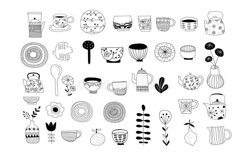 Enkel, elegant och stilfull samling av modern hand dragen kitchenware, japansk keramik, logoer och illustrationer vektor illustrationer