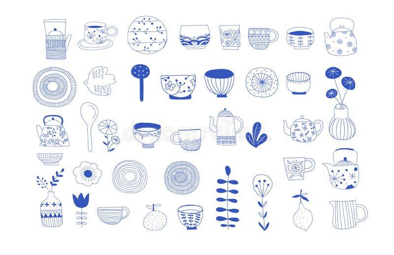 Enkel, elegant och stilfull samling av modern hand dragen kitchenware, japansk keramik, logoer och illustrationer stock illustrationer