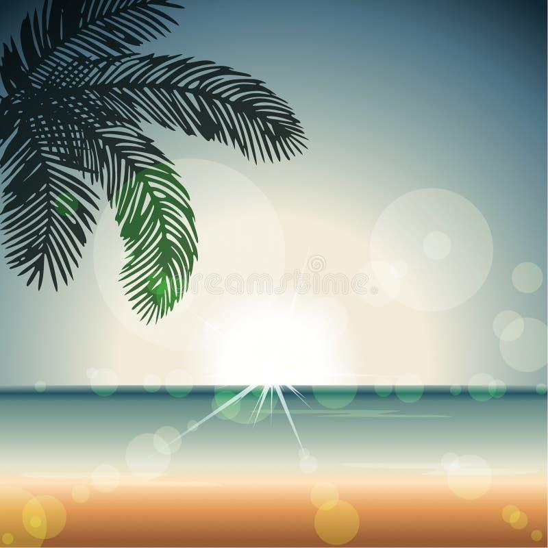 Sommartidsolnedgång med stordior vektor illustrationer