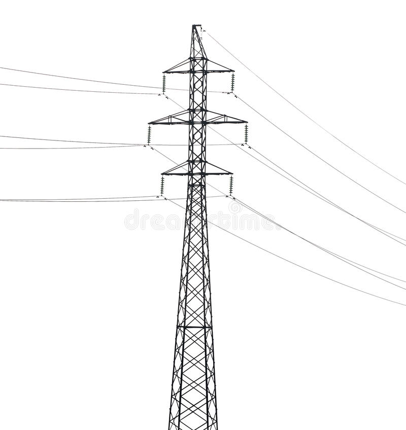 Enkel elektrisk stålpylon som isoleras på vit arkivbild