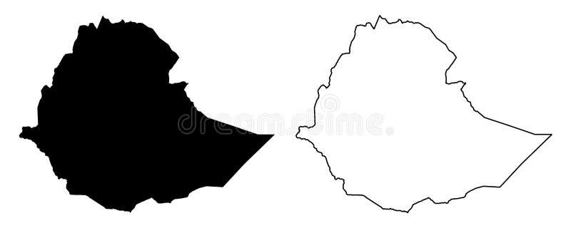 Enkel endast skarp hörnöversikt av den Etiopien vektorteckningen Merc royaltyfri illustrationer