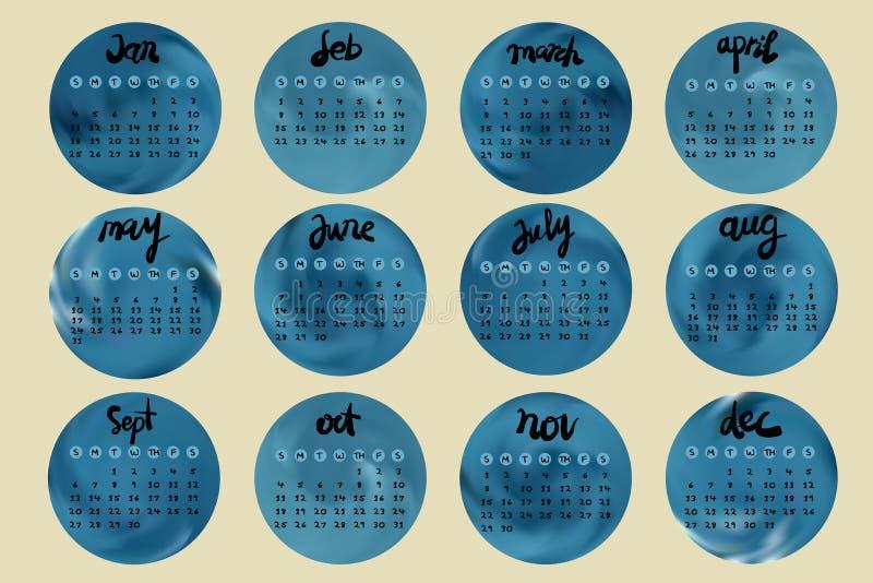 Enkel europé 2015 år kalender med handskriftstil stock illustrationer
