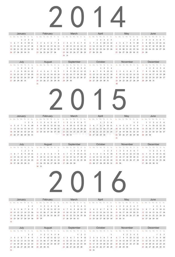 Europé 2014, 2015, 2016 år vektorkalender vektor illustrationer