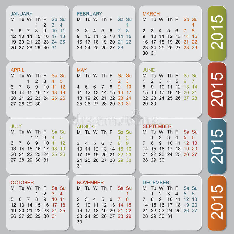Enkel europé 2015 år vektorkalender vektor illustrationer