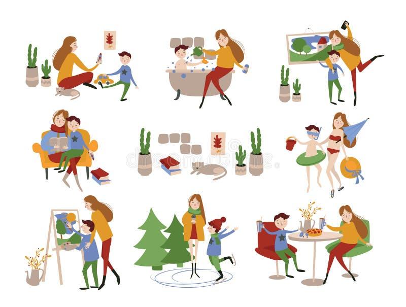 Enkel europeisk eller amerikansk moder och hennes son vektor illustrationer
