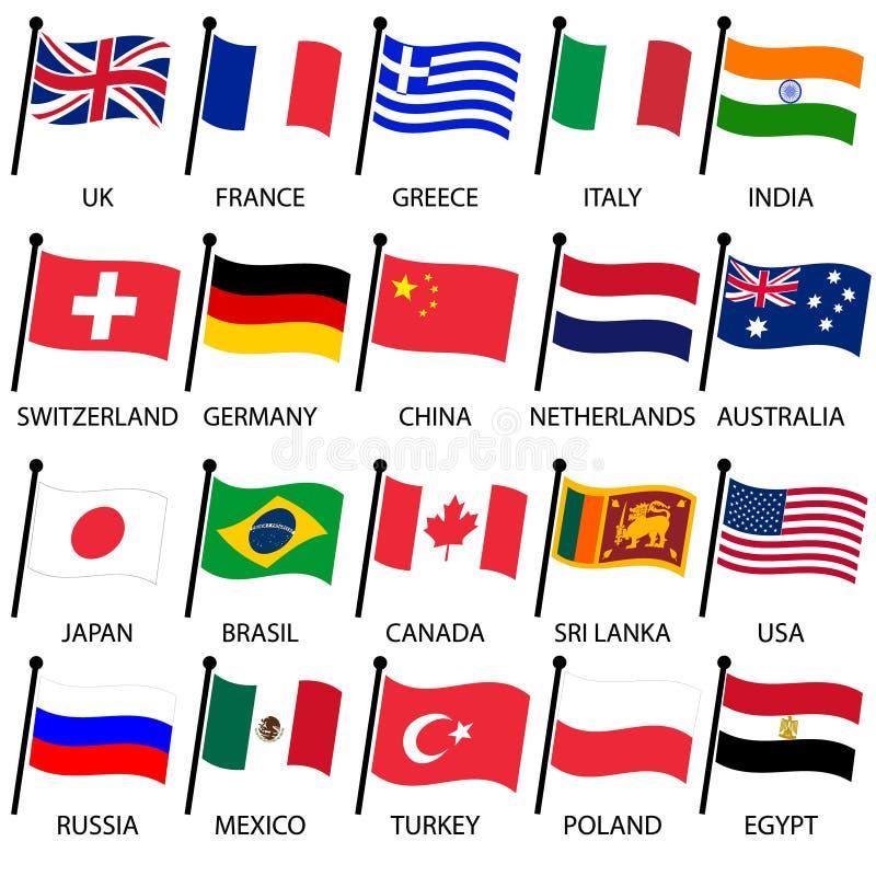 Enkel färg buktade flaggor av den olika landssamlingen royaltyfri illustrationer