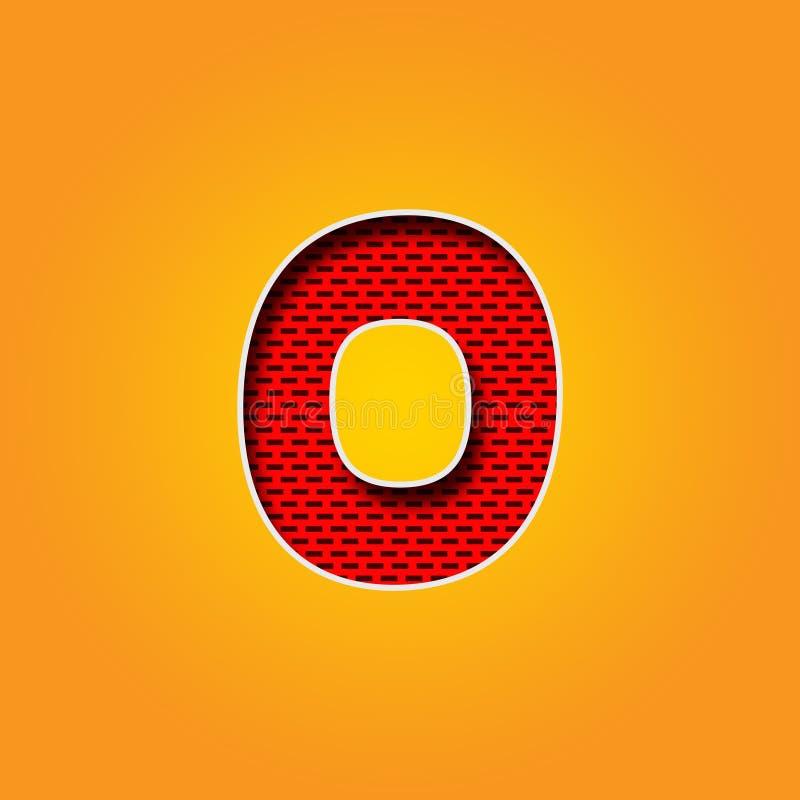 Enkel färgar nollstilsorten för tecken 0 i apelsin och guling alfabet royaltyfri illustrationer