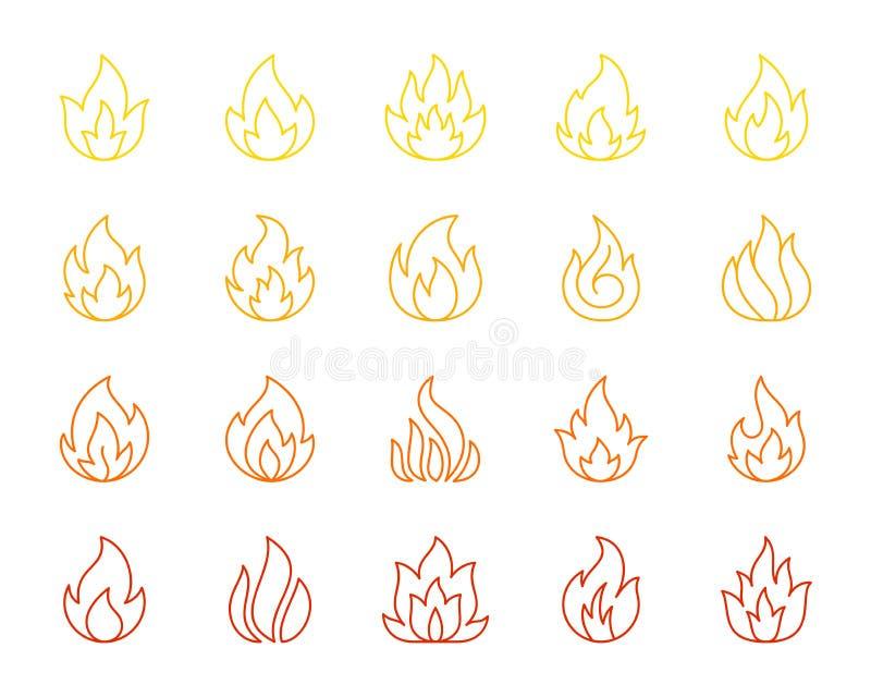 Enkel färglinje symbolsvektoruppsättning för brand vektor illustrationer