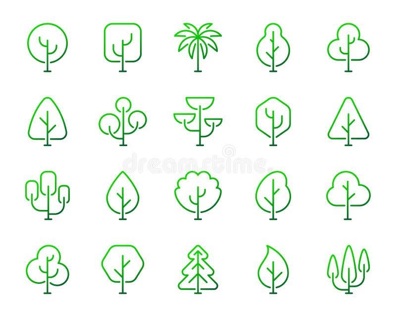 Enkel färglinje symbolsvektoruppsättning för geometriska träd stock illustrationer