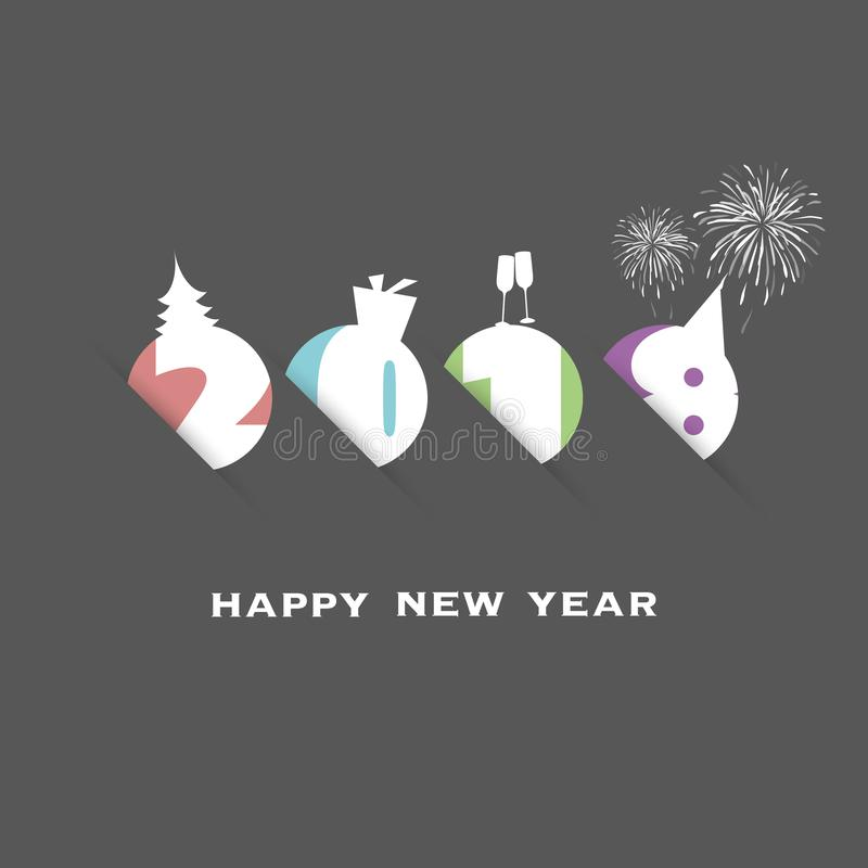 Enkel färgrik för kort-, räknings- eller bakgrundsdesign för nytt år mall - 2018 royaltyfri illustrationer