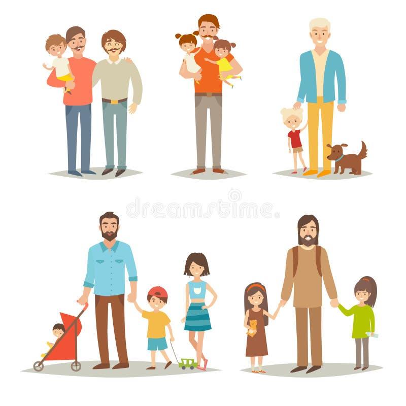 Enkel fader med barn Lycklig familjbarngrupp: små systrar, bröder och fader vektor illustrationer