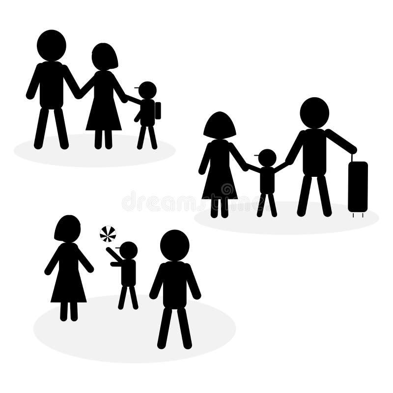 Enkel familjsymbol i svartvitt; symbol av barnet som gör aktiviteter med föräldrar arkivfoto