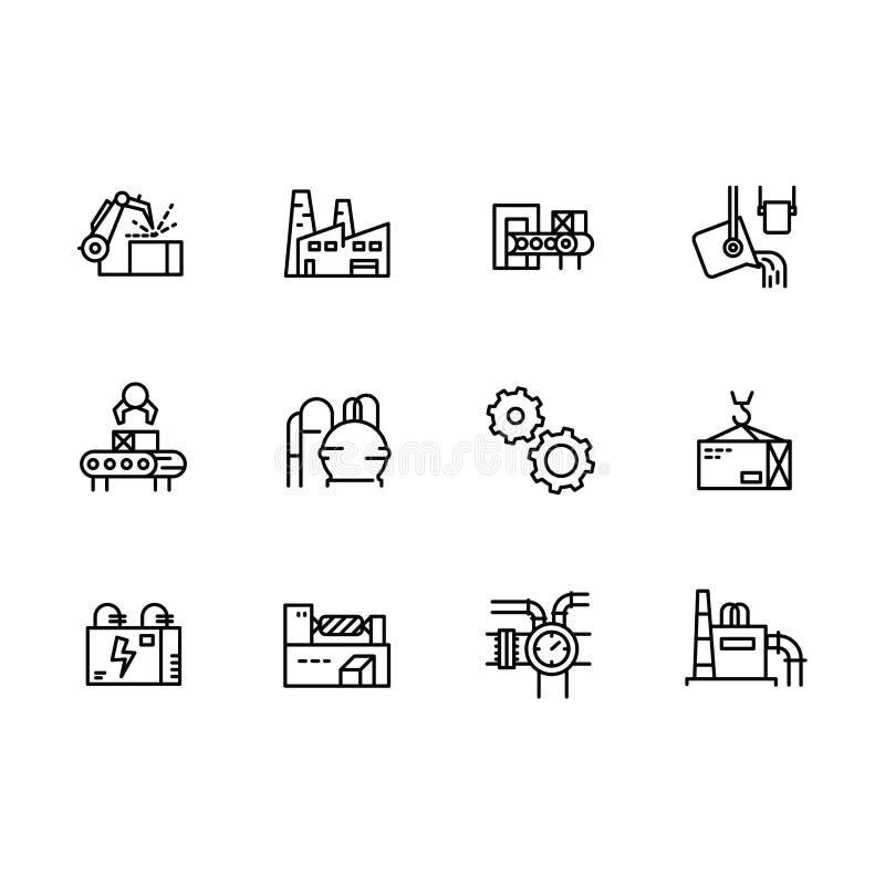 Enkel fastställd bransch-, produktion- och fabriksillustrationlinje symbol Innehåller sådana industriella maskiner, tillverkning royaltyfri illustrationer