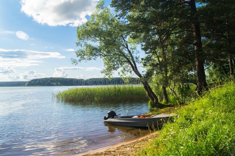 Enkel fishers`-motorbåt som förtöjas till den strand- skogen av sjön Seliger under det bländande solljuset, Ryssland royaltyfria foton