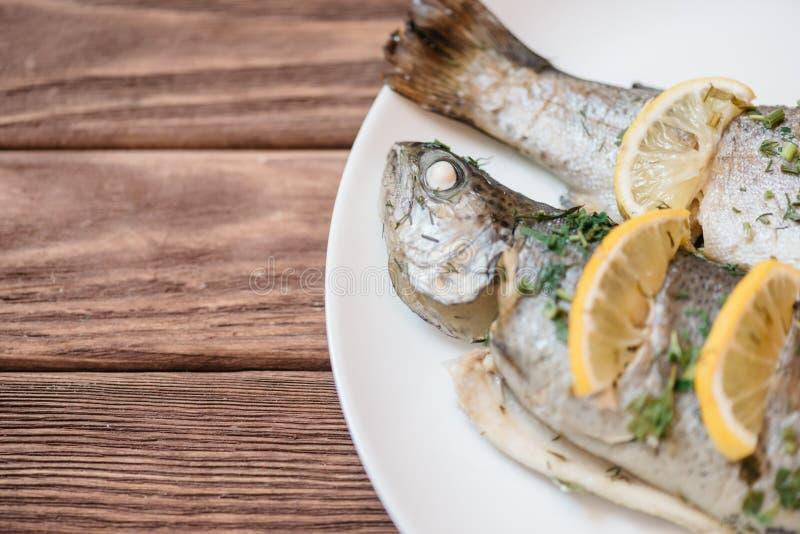 Enkel fiskmaträtt med citroner och grönska royaltyfri fotografi