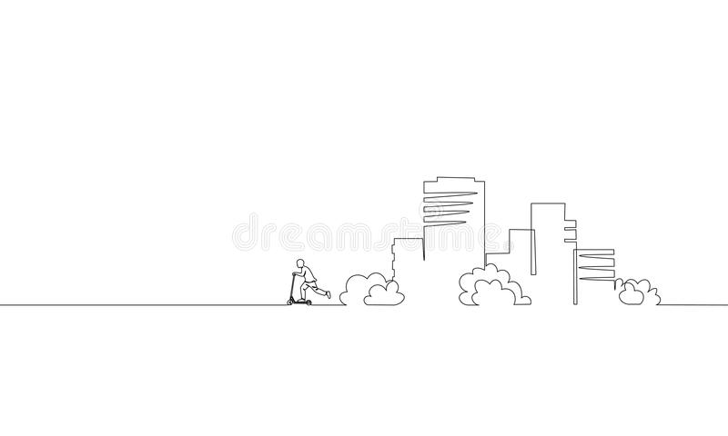 Enkel fortlöpande en linje sparkcykel för ridning för konststadsbyggnad Cityscape för lägenhet för arkitekturkonstruktionshus sta vektor illustrationer