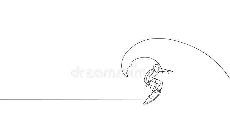 Enkel fortlöpande en linje våg för hav för konstsurfaresemester Aktiv surfingbräda för resa för sportsommarferie tropisk lyxig stock illustrationer