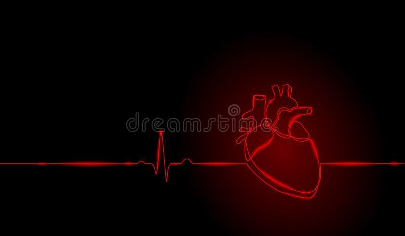 Enkel fortlöpande linje anatomisk mänsklig hjärtakontur för konst Sunt glöd röd för neon för medicinbegreppsdesignen skissar stock illustrationer