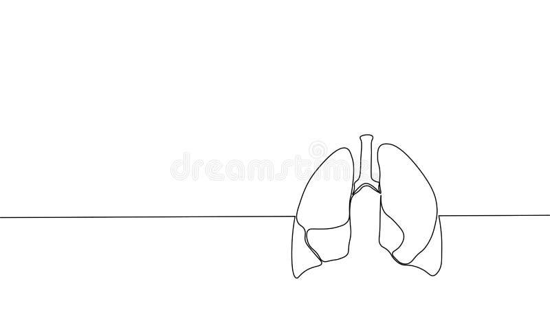 Enkel fortlöpande linje anatomisk mänsklig lungakontur för konst Sund medicin mot att röka den ingen världen för begreppsdesign royaltyfri illustrationer