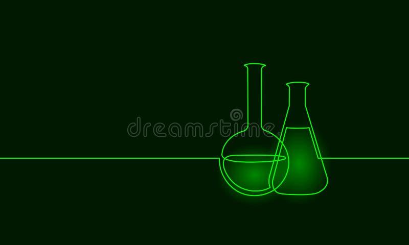 Enkel fortlöpande linje flaska för kemisk vetenskap för konst Design en för utrustning för vetenskaplig teknologiforskningmedicin stock illustrationer