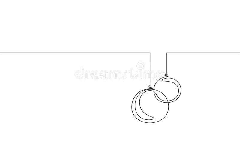 Enkel fortlöpande linje konst för glad jul Begrepp för kontur för boll för träd för jul för garnering för feriehälsningkort royaltyfri illustrationer