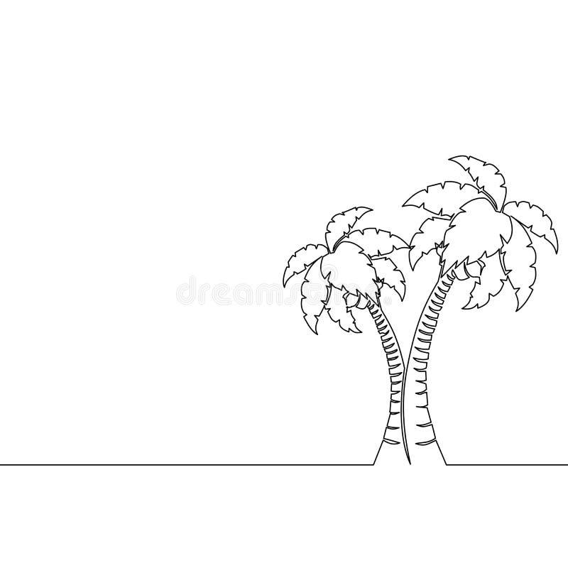 Enkel fortlöpande linje konstpalmträdlinje teckning stock illustrationer
