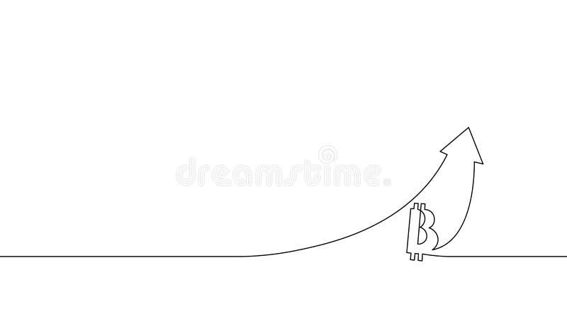 Enkel fortlöpande linje pil för konstbitcoincryptocurrency upp Upp teknologi för finans för vinst för diagramtillväxtförhöjning d stock illustrationer