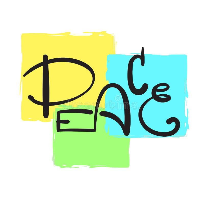 Enkel fred - inspirera och det motivational citationstecknet Hand dragen härlig bokstäver Skriv ut för den inspirerande affischen stock illustrationer