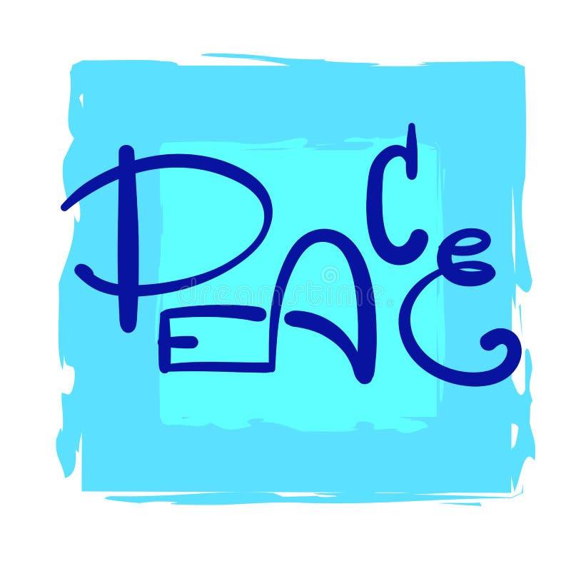 Enkel fred - inspirera och det motivational citationstecknet Hand dragen härlig bokstäver Tryck för inspirerande affisch, stock illustrationer