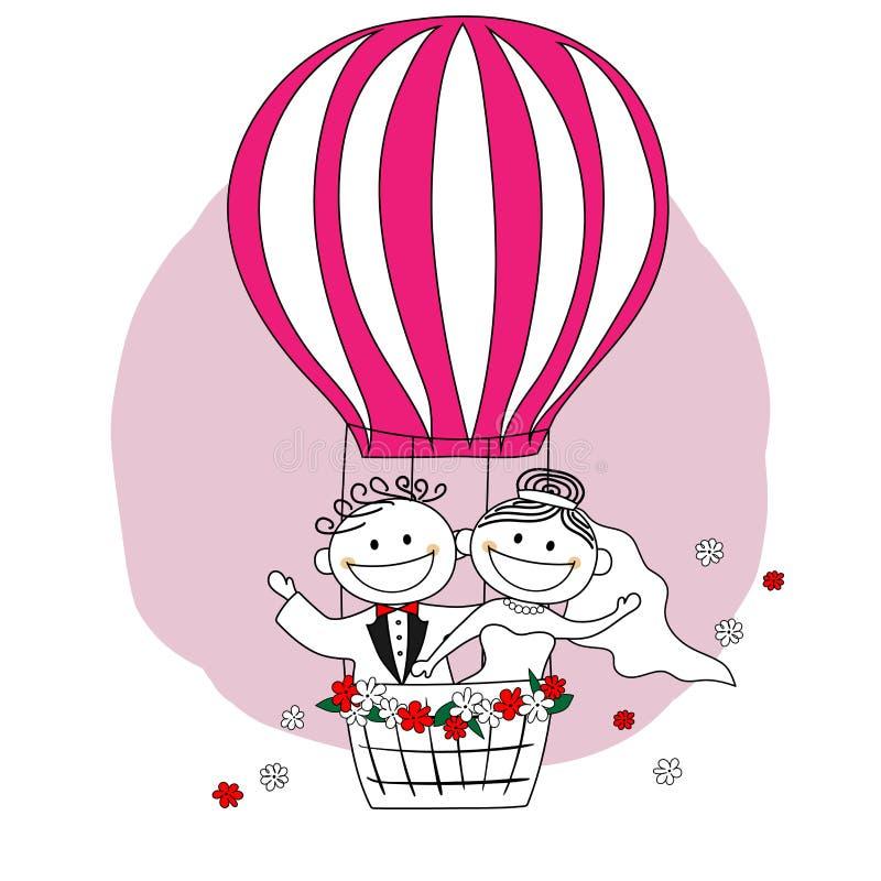 Enkel gehuwd Bruid en bruidegom op het beeldverhaal van de hete luchtballon vector illustratie