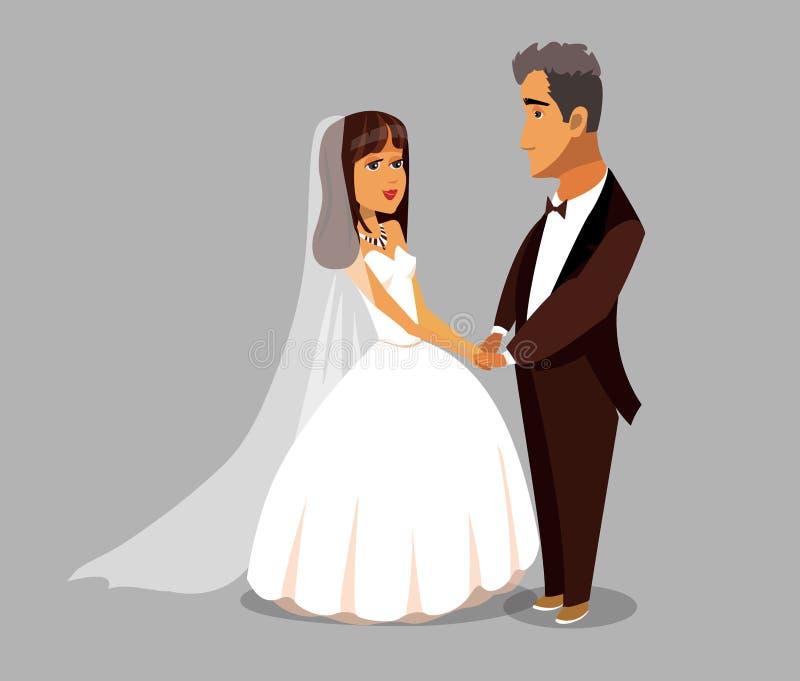 Enkel Gehuwd, het Ontwerpelement van het Jonggehuwdenbeeldverhaal vector illustratie