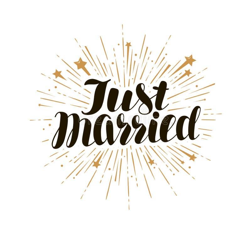 Enkel gehuwd, het van letters voorzien Huw, huwelijkskaart en uitnodiging Kalligrafie, vectorillustratie vector illustratie