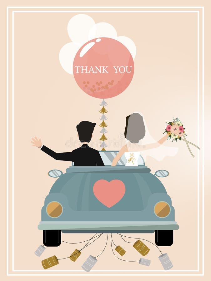 Enkel gehuwd Retro Auto met enkel gehuwd teken De verfraaide Auto van het Huwelijk Vector illustratie vector illustratie