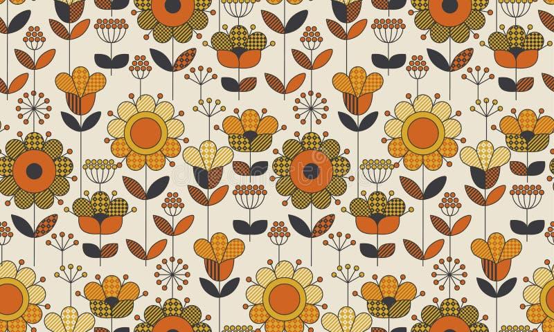 Enkel geometrisk blom- sömlös modell royaltyfri illustrationer