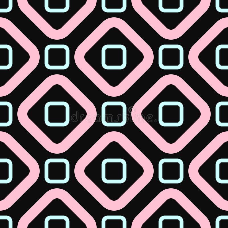 Enkel geometrisk s?ml?s modell Flickatryck med fyrkanter och romben Svart turkos, rosa f?rg stock illustrationer