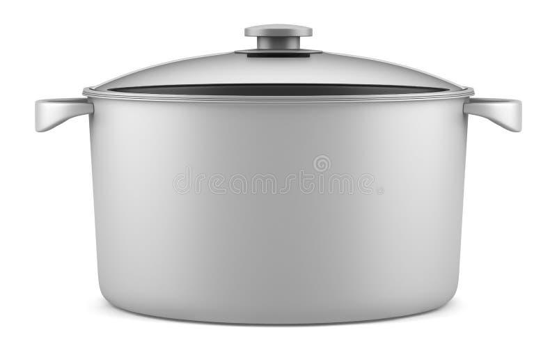Enkel grå matlagningpanna som isoleras på white royaltyfri illustrationer
