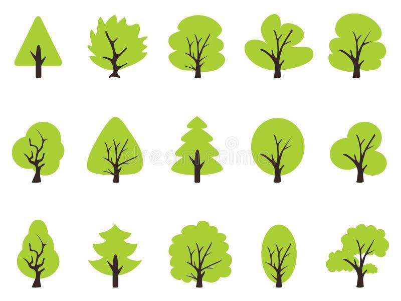 Enkel grön trädsymbolsuppsättning stock illustrationer