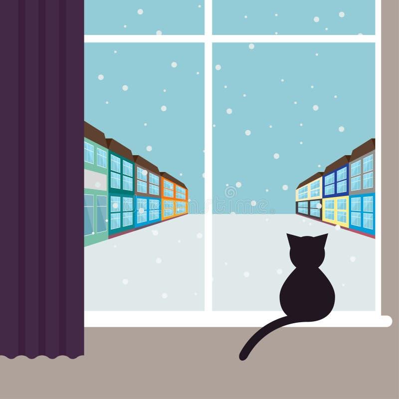 Enkel grafisk illustration med sammanträde för svart katt på fönstret och att hålla ögonen på på den snöa stadsgatan vektor illustrationer