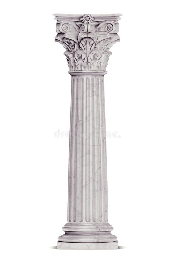 Enkel grekisk kolonn som isoleras på vit vektor illustrationer