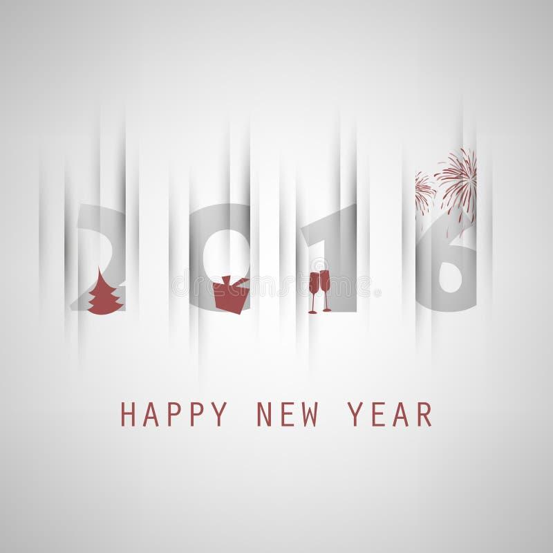 Enkel Grey New Year Card, räknings- eller bakgrundsdesignmall med julgranen, gåvaasken och att dricka exponeringsglas- och fyrver stock illustrationer