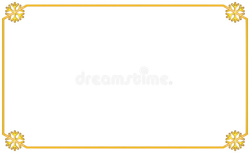 Enkel guld- ram med snöflingan för beståndsdel för hörn fyra Nytt år och julillustration Guld- gräns för volymetrisk tappning, vektor illustrationer