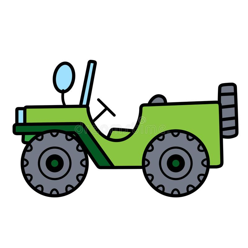 Enkel gullig grön bil med det reserv- gummihjulet på vit bakgrund royaltyfria bilder