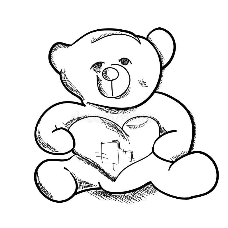 Enkel handattraktion skissar nallebjörnen stock illustrationer