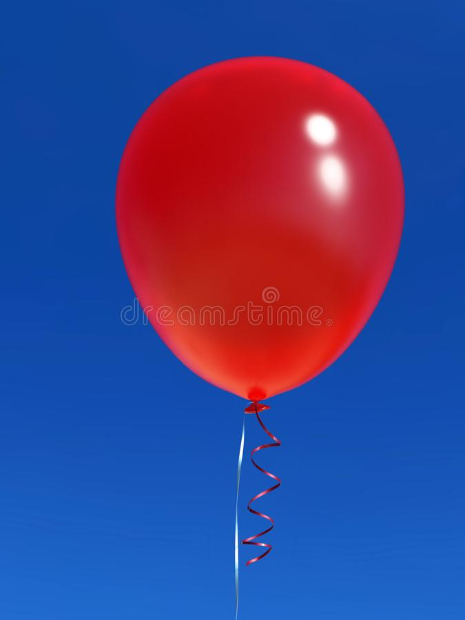 Enkel heliumballong med bandet på blå himmel royaltyfri illustrationer